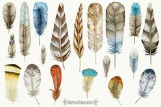 Set of watercolor tribal elements by Maryna on @creativemarket