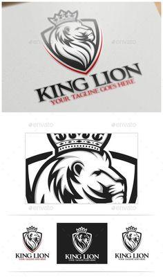 b712e36ce23 King Lion Logo Template (AI Illustrator