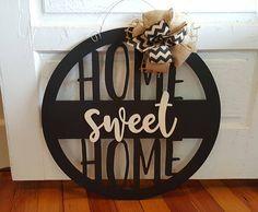 Home sweet home door hanger - wreath - housewarming gift - wall hanging - dorm room Front Door Signs, Front Door Decor, Sweet Home, Dorm Door Decorations, Name Wall Art, Burlap Bows, Trendy Home, Monogram Letters, Door Hangers