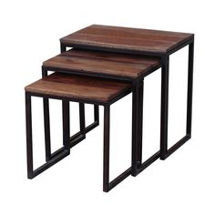 Add three tables in one to your home decor with this strikingly modern nesting table set, crafted in India with a blend of sheesham wood and blackened iron. Rustic yet contemporary, these tables will bring character to any room.