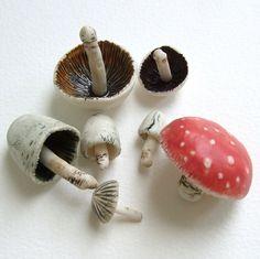 Ceramics Projects, Clay Projects, Clay Crafts, Mushroom Decor, Mushroom Art, Porcelain Jewelry, Porcelain Ceramics, Ceramic Design, Ceramic Art