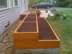 Two Double-Tiered Raised Garden Beds -- with trellis -- for middle garden. -A