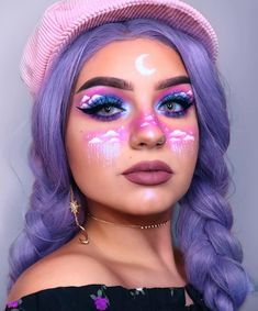 Are you looking for ideas for your Halloween make-up? Browse around this site for cute Halloween makeup looks. Cute Makeup Looks, Makeup Eye Looks, Creative Makeup Looks, Eye Makeup Art, Crazy Makeup, Pretty Makeup, Makeup Set, Makeup Eyeshadow, Teen Makeup