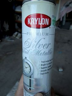 Krylon Silver Foil Metallic.  This is seriously my all time favorite silver spray paint.  It looks oh so real and coats ever so gently in only one coat. Seriously, one coat does the job.  It