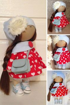 Tilda doll Fabric doll toy Interior doll Art doll brown red colors soft doll…