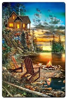 Shop our lighted canvas art! Our Cabin LED Wall Art have LED lights that light up the canvas art! Image Deco, Lighted Canvas, Lake Cabins, Thomas Kinkade, Pictures To Paint, Beautiful Paintings, Pretty Pictures, Summer Pictures, Beautiful Places