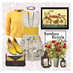 """""""Bicycles"""" by loves-elephants ❤ liked on Polyvore featuring Boutique Moschino, Danica Studio, Cambridge, Bill Blass, Hues, NAKAMOL, Fendi, Frontgate, Nearly Natural and Lazy Susan"""