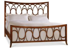 Panel bed with cherry veneers and an open fretwork headboard and footboard. Product: California king bedConstruction Material: Hardwood solids and cherry veneersColor: WalnutDimensions: H x W x D Hooker Furniture, Fine Furniture, Bedroom Furniture, Furniture Decor, Furniture Design, California King Bedding, Headboard And Footboard, Headboards, Furniture Catalog