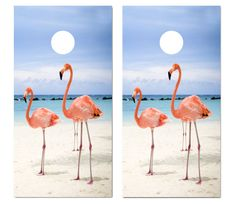 Our Flamingos On The Beach Cornhole Game Set. Get your custom cornhole game set at victorytailgate.com