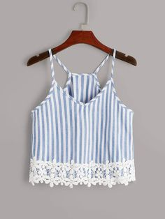 Blue Boho Polyester Striped Cami Fabric has no stretch Summer Tank Tops & Camis, size features are:Bust: ,Length: Regular ,Sleeve Length: Teen Fashion Outfits, Diy Fashion, Fashion News, Ideias Fashion, Fashion Styles, Crop Top Outfits, Summer Outfits, Cute Outfits, Modelos Fashion