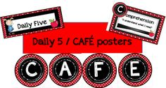 Daily Five/CAFE signs in many different colors/themes - all free! Red/Black, Blue/Green, Dots on Chocolate, Yellow/Black with bees, Jungle print, Pink/Green and more!