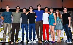 Max Carver, Tyler Hoechlin, Charlie Carver, Dylan O'Brien, Daniel Sharman, Tyler Posey, Crystal Reed, Holland Roden, and writer Jeff Davis at the Teen Wolf panel