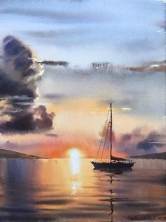 Best 11 Sailing yacht and fire sunset – Watercolor Painting Original art seascape wall yachts sea sun artwork by HomelikeArtGallery on Etsy – SkillOfKing. Watercolor Sunset, Watercolor Landscape Paintings, Seascape Paintings, Watercolor Trees, Watercolor Artists, Watercolor Portraits, Oil Paintings, Sailboat Painting, Watercolor Illustration