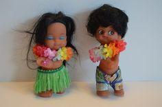 Hawaiian rubber dolls Hong Kong boy girl grass skirt shorts hawaii lei