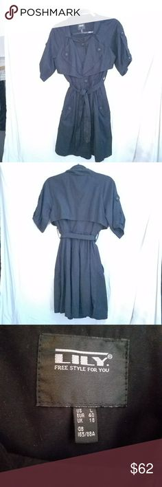 LILY - freestyle for you  coat/dress, size Large It's a coat,  it's a dress Super cute piece that's fully lined & belted.  Fabric covered buttons down the front.  Short sleeves. 68/32 polyester/ cotton  It fits closer to a medium  Like new condition LILY freestyle for you Jackets & Coats
