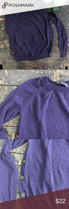 Banana Republic Sweater Plum colored sweater, fun sewn details by the shoulder swam, brown buttons (they don't actually button-for design only) along the side, EUC! 58% cotton 42% viscose Banana Republic Sweaters