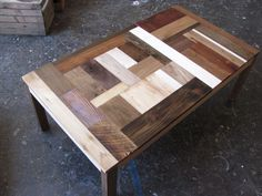 Reclaimed wood coffee table w/ white accents