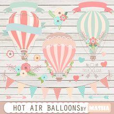 Clipart de ballons à air chaud: « Hot Air Balloon Clipart » pour les invitations de mariage, enregistrer les cartes date, baby douches, fêtes d
