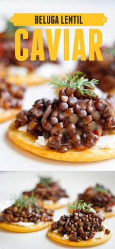 This vegan-friendly Beluga Lentil Caviar recipe features black beluga lentil salad served on top of crackers with cream cheese, and is the perfect cold weather appetizer for your dinner party! champagne-tastes.com
