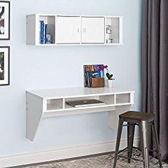 Prepac Designer Floating Desk and Hutch Set in White