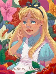 Disney Fan Art, Alice In Wonderland, Princess Zelda, Art Prints, Gallery, Drawings, Flowers, Fanart, Fun