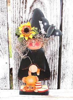 Winifred Witch Halloween Tole Painted Shelf Decor