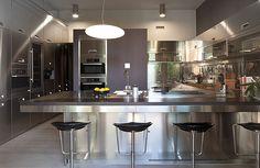 Stainless steel kitchen - appliances, countertops, sink...