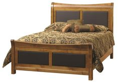 Amish Stratford Leather Inlay Bed Make a statement with the Stratford. The upholstered headboard is comfy to lean against for evening reading and TV watching. It's easy to customize the look with lots of wood, finish and upholstery options available.