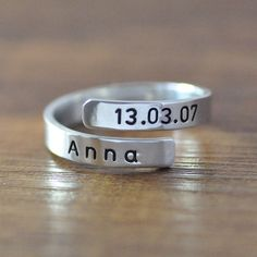 FREE Shipping Personalized Spiral Name Ring by LoveHandmadeJewelry