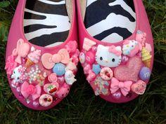 Super Kawaii Shoes Cute Custom Pink Hello Kitty Ice Cream Sweets Cake Ballet Flats