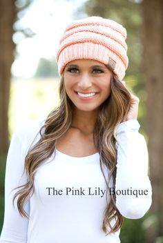 The Pink Lily Boutique - Peach Knit Beanie, $15.00 (http://thepinklilyboutique.com/peach-knit-beanie/)