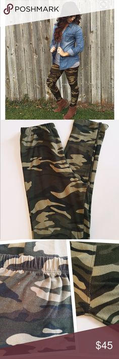 LuLaRoe Camo leggings Good used condition camo leggings by Lularoe. OS. Two very small holes on top back as shown in 3rd pic and small stitch missing in crotch also shown in 3rd pic. Both easily covered by shirt when worn. NO TRADES LuLaRoe Pants Leggings