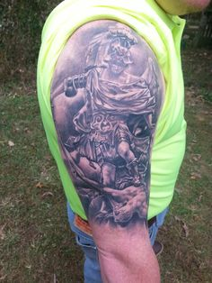 My wonderful husband's new St Michael tattoo
