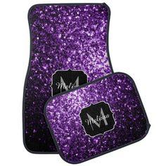 Beautiful Purple glitter sparkles Monogram Car Mats Set by #PLdesign #PurpleSparkles #SparklesGift