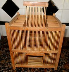 cricket cages | Old-Chinese-Japanese-Large-Cricket-Bird-Cage-Wood-Peg-Attached-Box ...