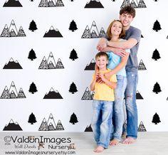 Mountain pattern decal wall decal nursery by ValdonImagesNursery