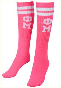 Phi Mu tube socks, OMG how super cute are these???  Carnation Collection