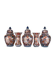 Japanese Imari Garniture with under-glaze, enamel, and gilt decoration. Composed of three lidded vases and two trumpet vases. Japan, c. Japanese Porcelain, Antique Auctions, Trumpet, Decorative Objects, Vases, Glaze, Enamel, Decoration, Antiques