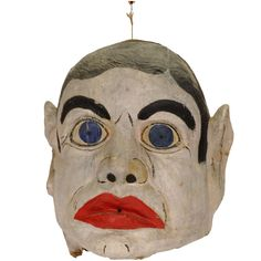 Vintage Paper Mache Carnival Head USA, From New Orleans, and was made by the American Mask Manufacturing Company, Findlay, Ohio. Paper Mache Head, Paper Mache Mask, Mime, Monster Mask, Le Clown, Halloween Lanterns, Cold Porcelain, Painted Porcelain, Porcelain Ceramics