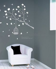 Beautiful Fragrant Petals With Brids Wall Decals– WallDecalMall.com
