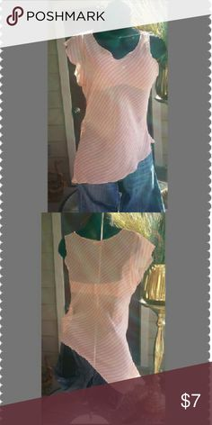 🔴Sheer Asymmetrical Striped Blouse Summer CLEARANCE red dot item! (See offer details in Summer CLEARANCE post above)  Translucent look in light peach and cream stripes with right short sleeve. Left shoulder exposed and on  downward to bottom left drapes. A tank top or nice dress brassiere looks great with this top(bra on in this pic not included ). Mimoa Tops Blouses