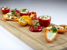 Mini Paprika, Tapas, Healthy Snacks, Food And Drink, Dinner, Vegetables, Cupcake, Health Snacks, Dining