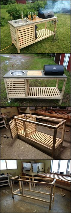 How To Build A Portable Kitchen For Your Backyard theownerbuilderne. Outdoor kitchens have so many benefits and advantages but cost, usually, isn? need an expensive and full size outdoor kitchen. It just has to be functional an Backyard Projects, Outdoor Projects, Home Projects, Pallet Projects, Pallet Ideas, Woodworking Projects, Wood Projects That Sell, Woodworking Clamps, Custom Woodworking