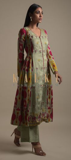Buy Online from the link below. We ship worldwide (Free Shipping over US$100)  Click Anywhere to Tag Romaine Green A Line Suit In Cotton Silk With Abstract Print And Thread Embroidery Online - Kalki Fashion Romaine green A line suit in cotton silk with abstract print on the sides.Further enhanced with thread embroidered floral buttis.Hemline enhanced with thread embroidered elephant motifs. Printed Kurti Designs, Silk Kurti Designs, Kurta Designs Women, Kurti Designs Party Wear, Dress Neck Designs, Designs For Dresses, Blouse Designs, Anarkali, Lehenga
