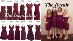 We did a mix and match of two different lines of bridesmaid dresses from J. Crew- the Red Wine Leavers Lace and the Crushed Berry Faille