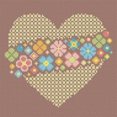 Cross stitch pattern lace heart floral embroidery by LaMariaCha