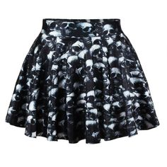 Black Summer Ladies Skull Print Pleated Skirt ($13) ❤ liked on Polyvore featuring skirts, bottoms, black, summer skirts, skull skirt, black skirt, pleated skirt and knee length summer skirts