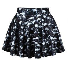 Black Summer Ladies Skull Print Pleated Skirt (53 RON) ❤ liked on Polyvore