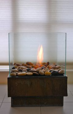 diy indoor fireplace via theartofdoingstuff.com