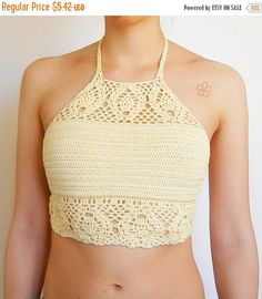 "50% OFF Boho crochet top pattern. Lace Festival top // The ""TROPICAL"" crop top Crochet Pattern _ C15 by AkariCrochetPatterns Find it now at http://ift.tt/1NlyTWG!"